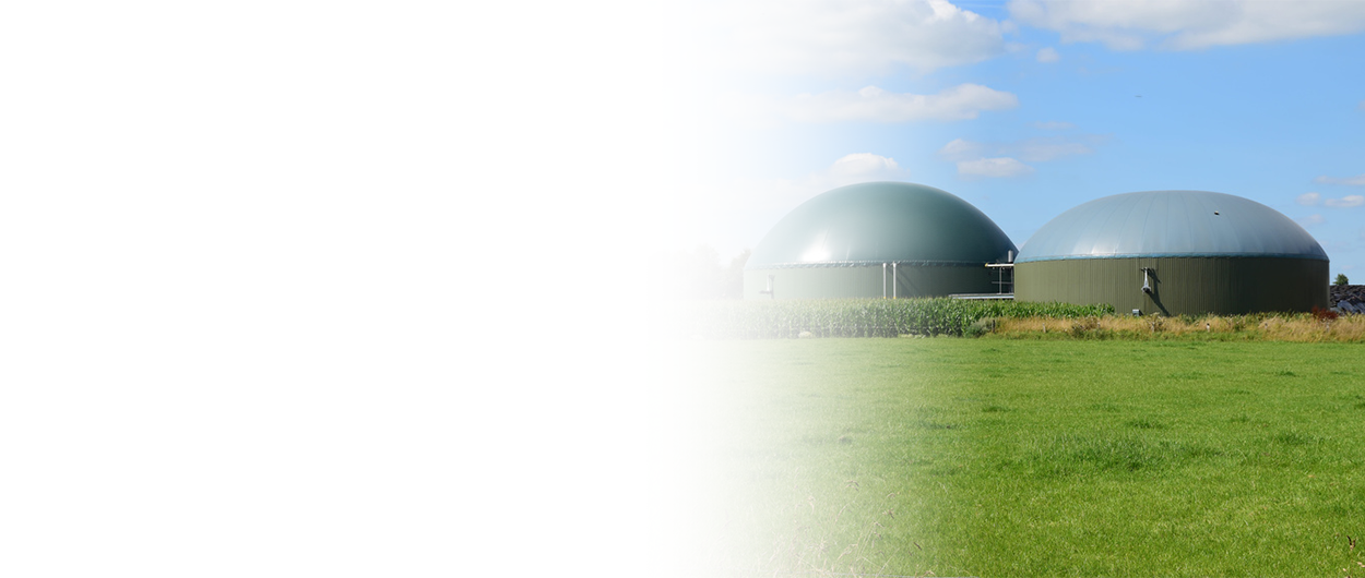 Zwei Biogassilos auf einem Feld